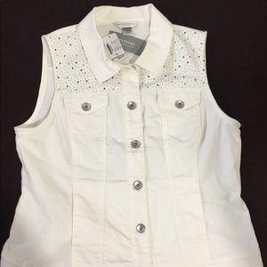Sleeveless white jean shirt NWT